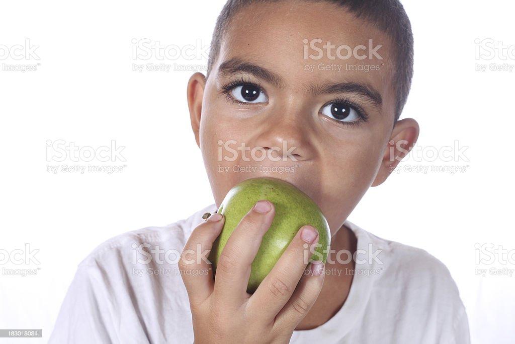 boy eating apple royalty-free stock photo