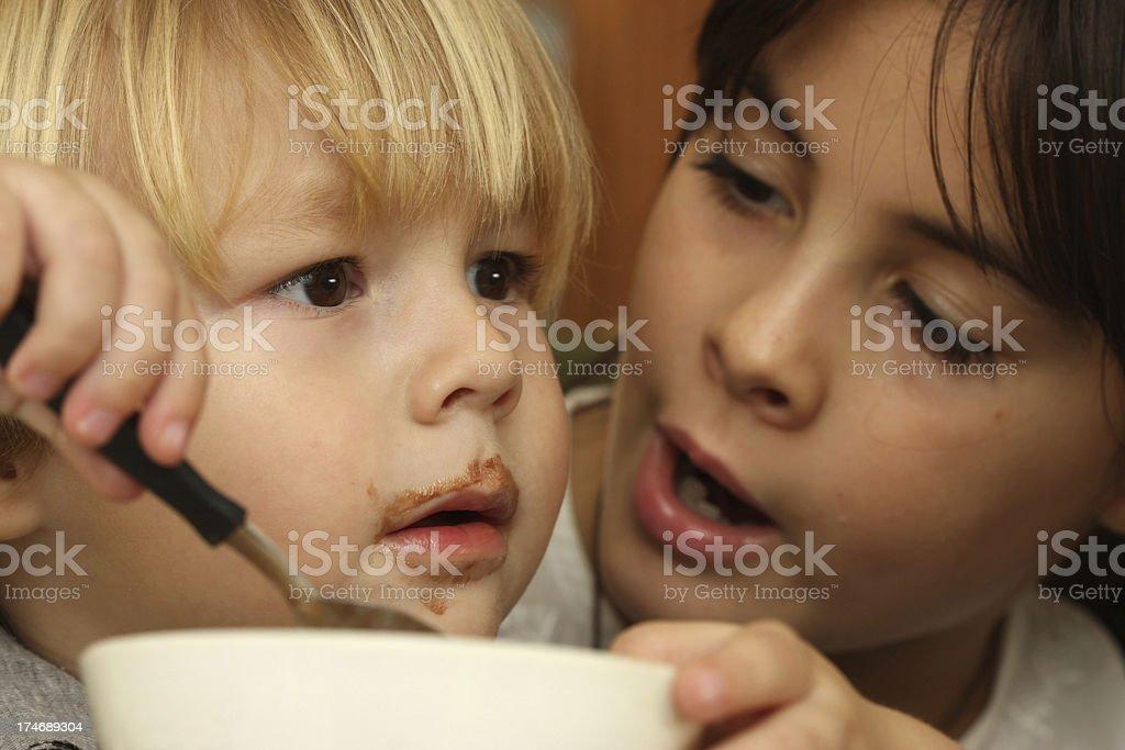 Boy Eating Chocolate Icecream royalty-free stock photo