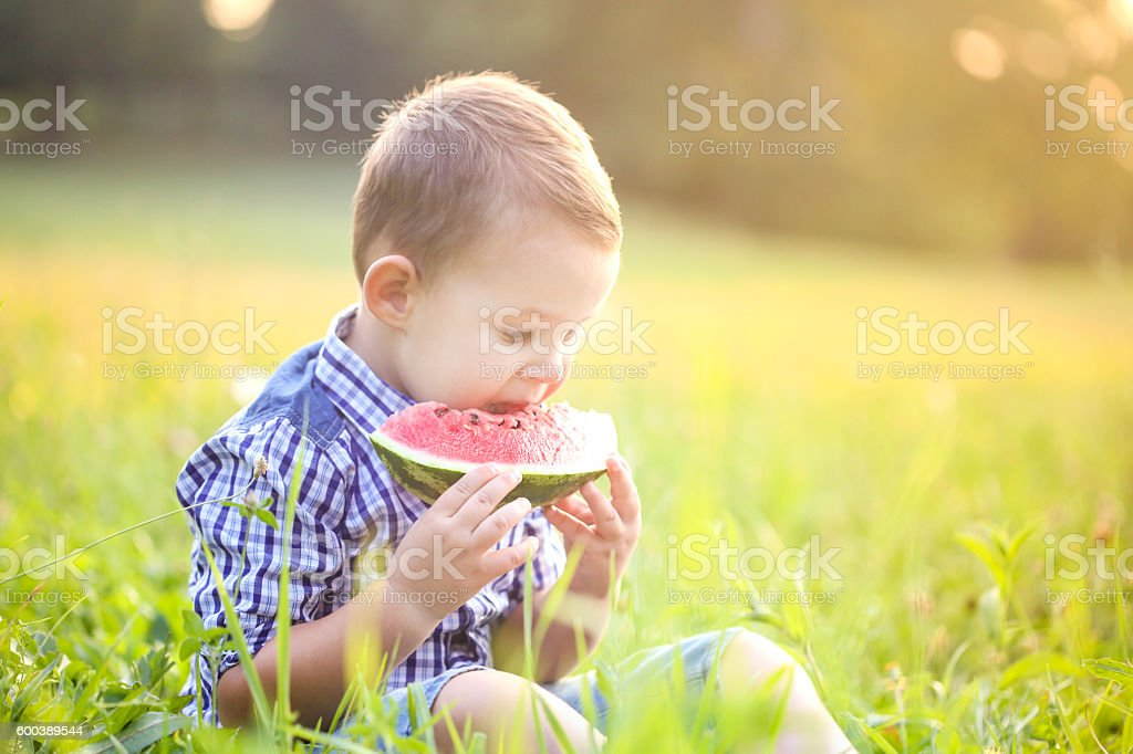 Boy eating watermelon stock photo