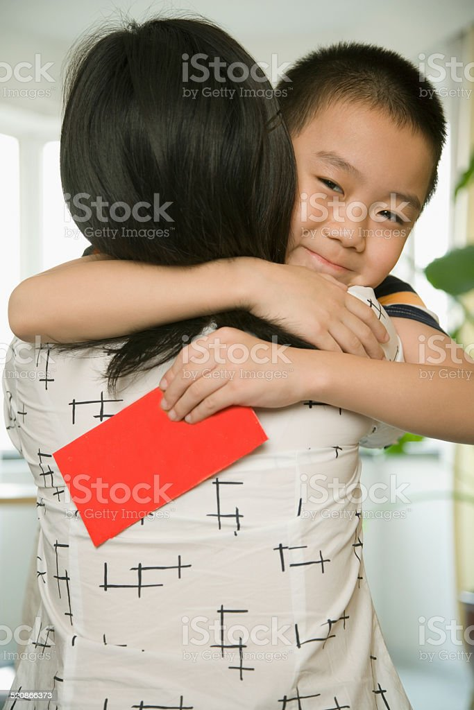 Boy (8-9) embracing mother stock photo