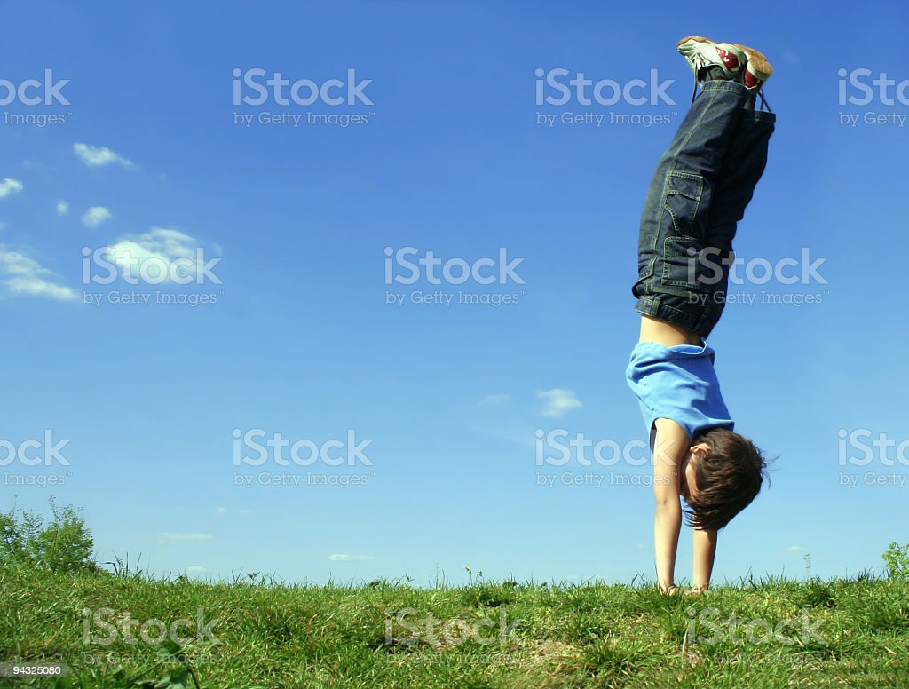 Boy exercising outdoors royalty-free stock photo
