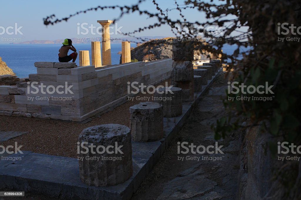 Boy exploring Greece stock photo