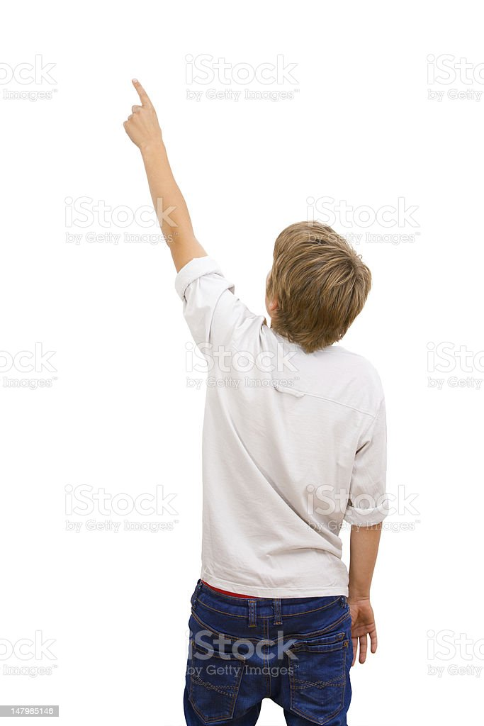 Boy facing with back pointing. royalty-free stock photo