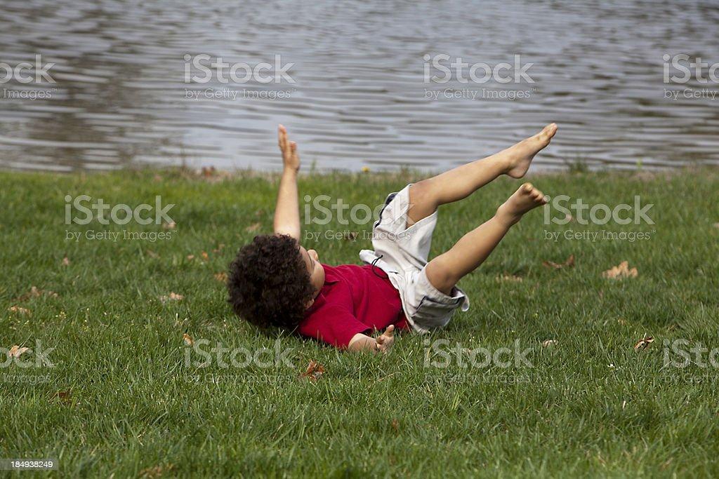 boy falling stock photo