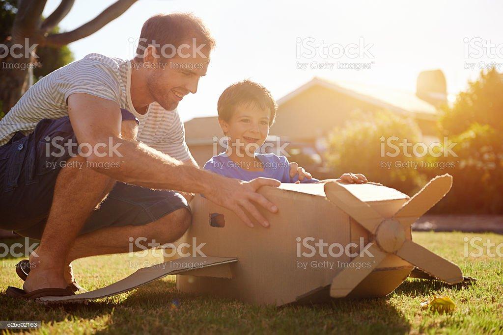 boy father toy aeroplane stock photo