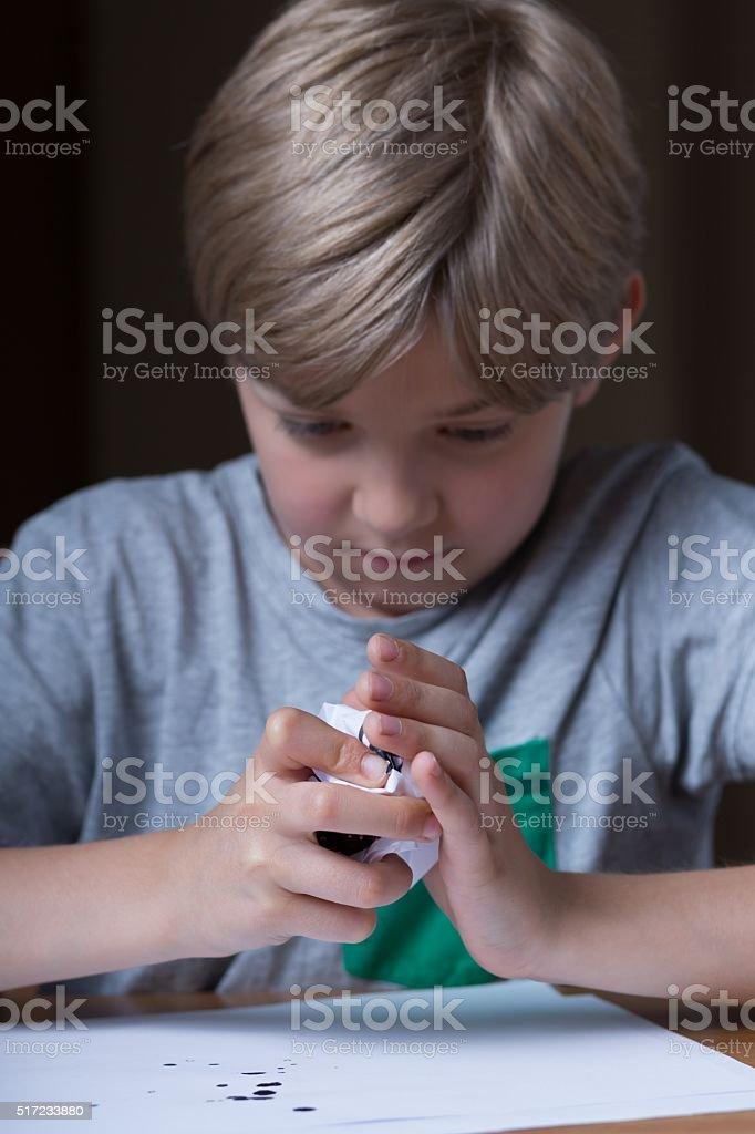 Boy feeling irritated stock photo