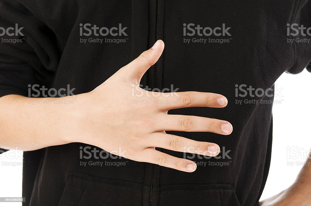 boy finger count five stock photo