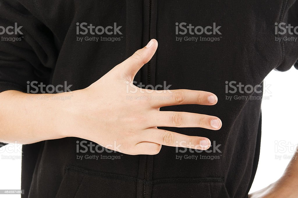 boy finger count four stock photo