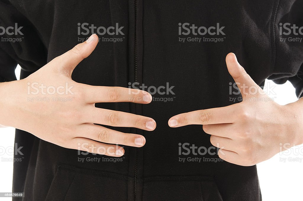 boy finger count seven stock photo