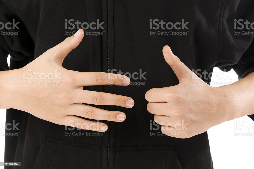 boy finger count six stock photo