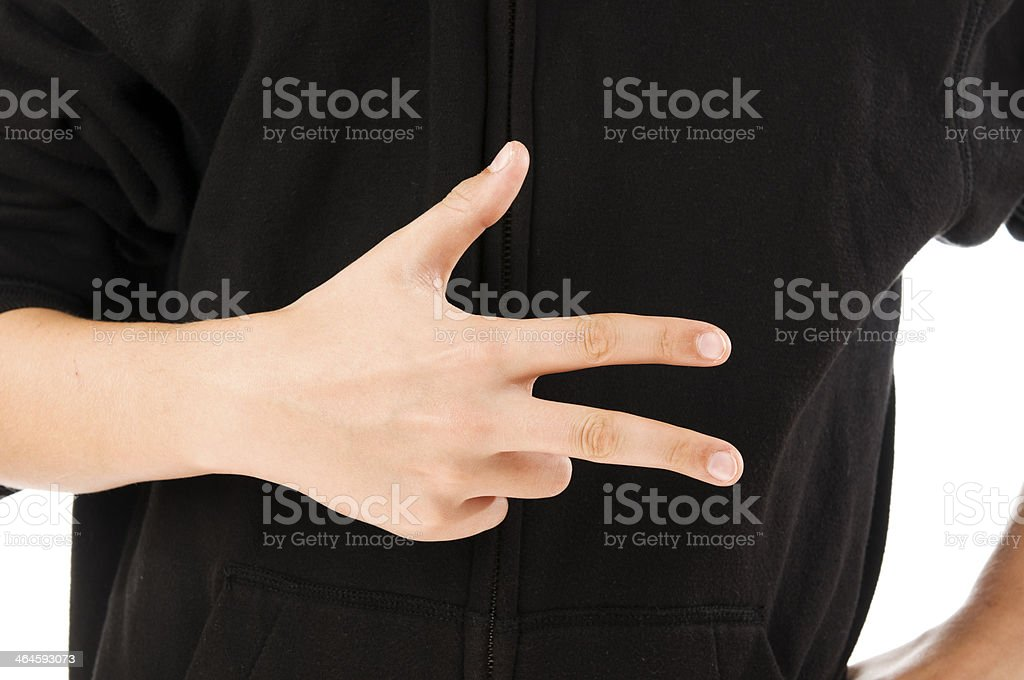 boy finger count three stock photo