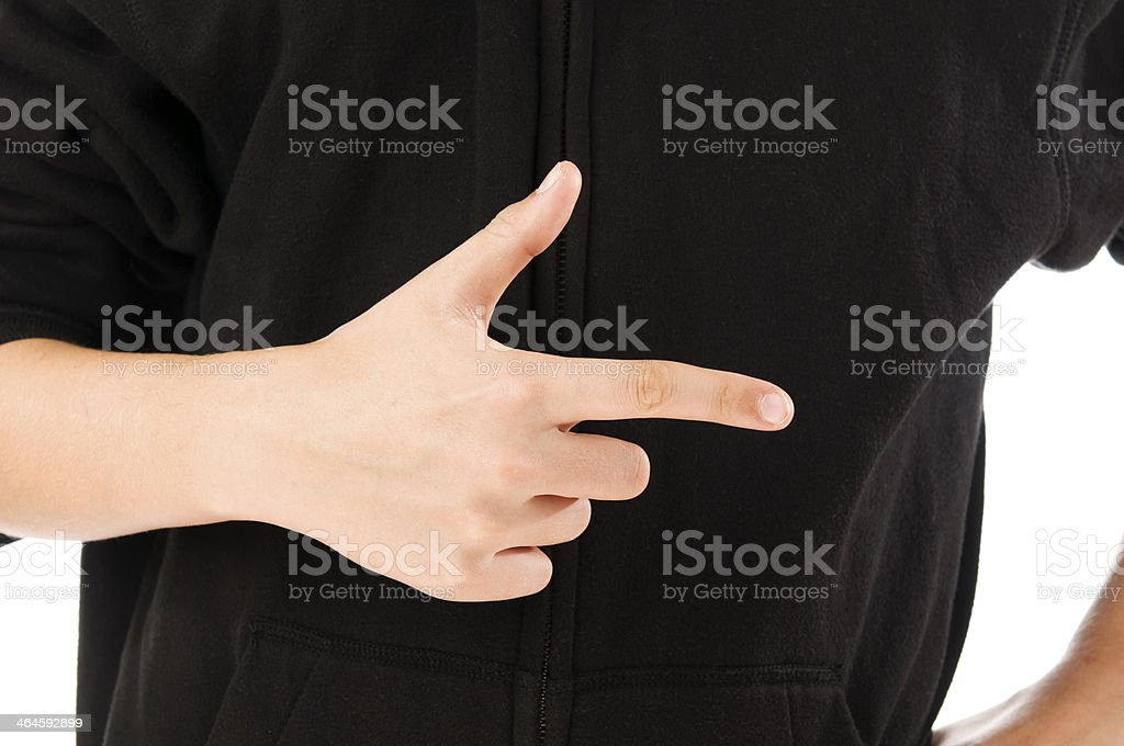 boy finger count two stock photo