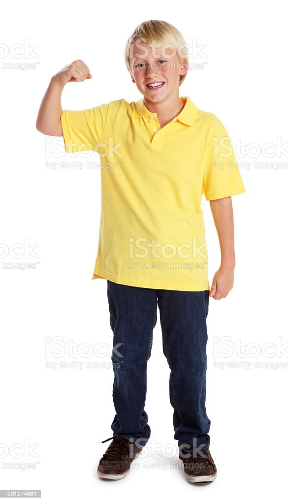Boy Flexing his Muscle on White stock photo