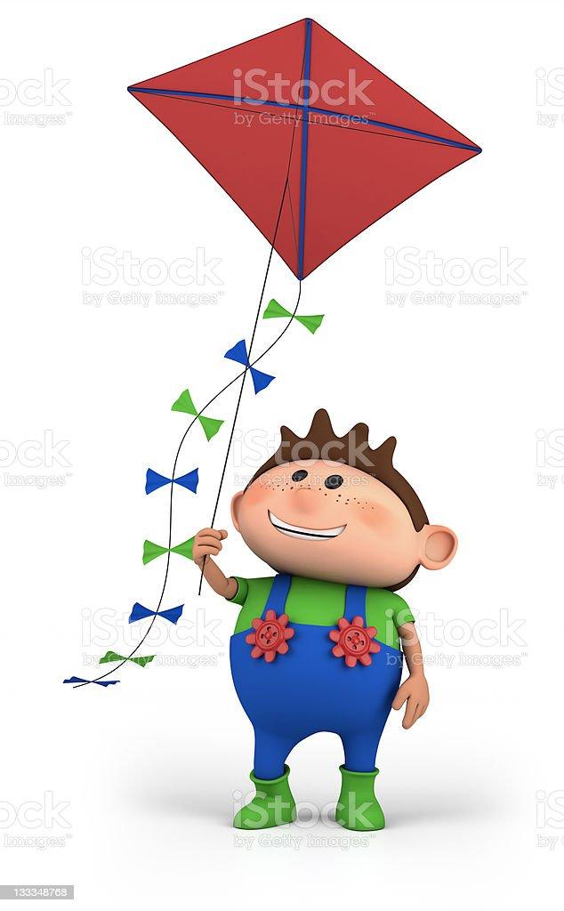 boy flying a kite royalty-free stock photo