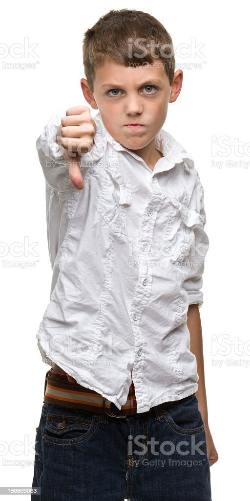 Boy Gives Thumbs Down stock photo