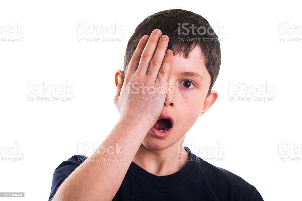 Boy having eye exam stock photo