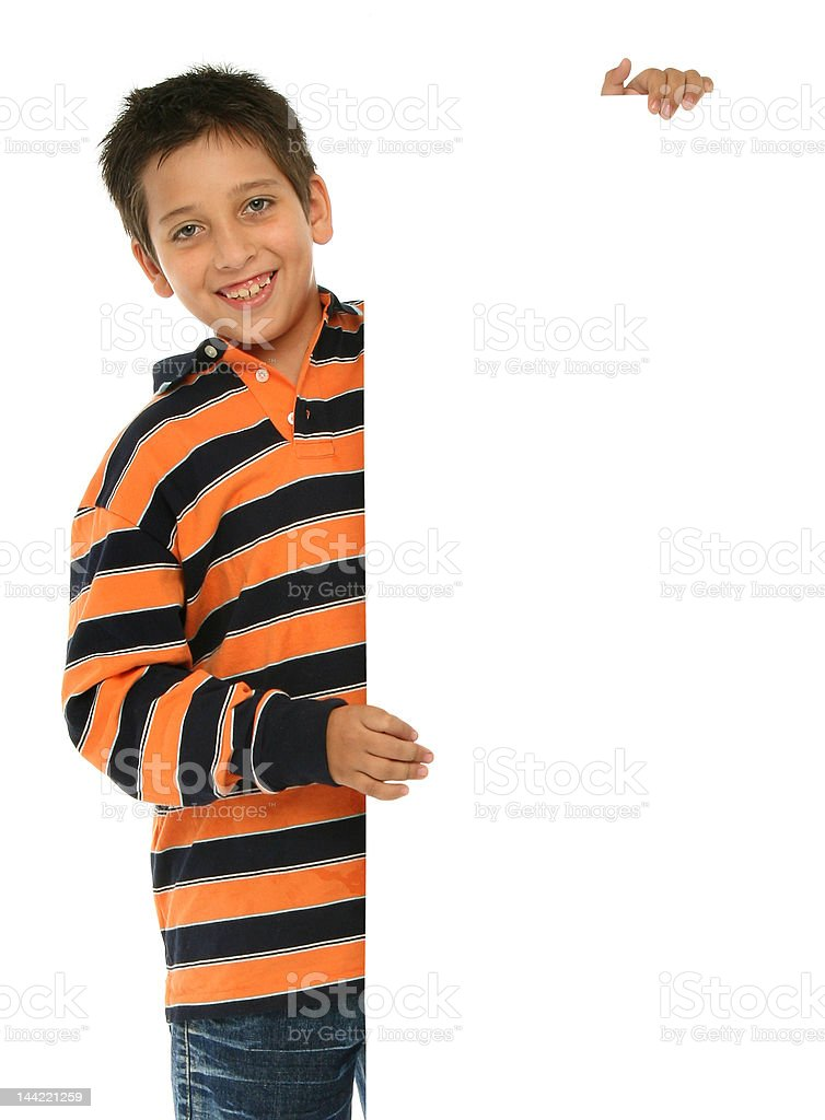 Boy holding a blank sign stock photo