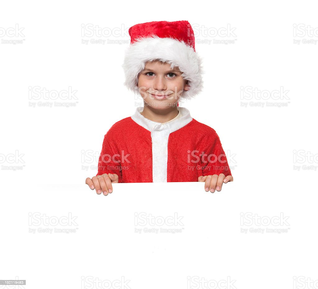 Boy holding a christmas poster royalty-free stock photo