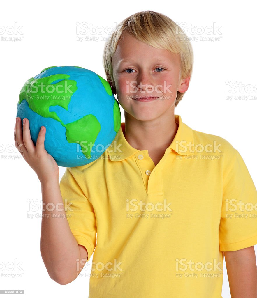 Boy Holding a Clay Globe stock photo