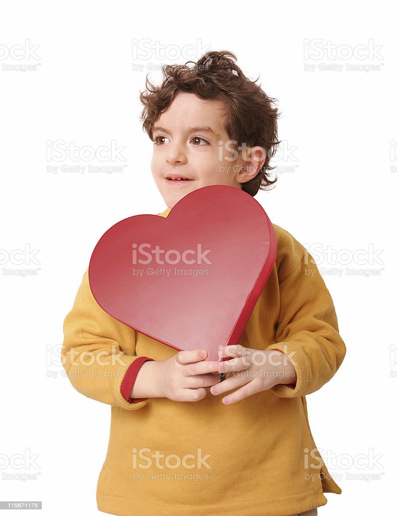 Boy holding a red heart 2 royalty-free stock photo
