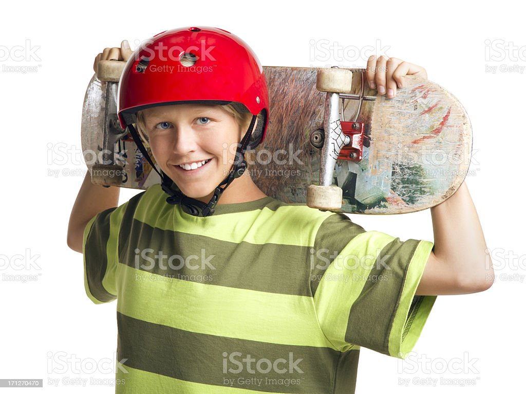 Boy Holding a Skateboard on the White Background royalty-free stock photo