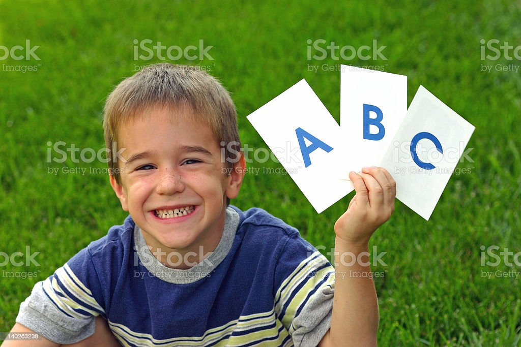 Boy Holding ABC'S royalty-free stock photo