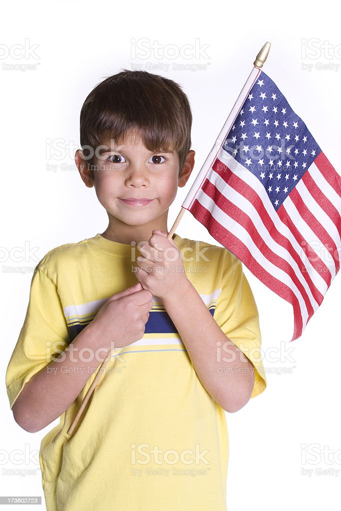Boy Holding an American Flag royalty-free stock photo