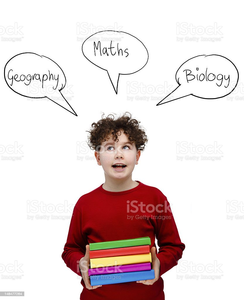 Boy holding books isolated on white stock photo