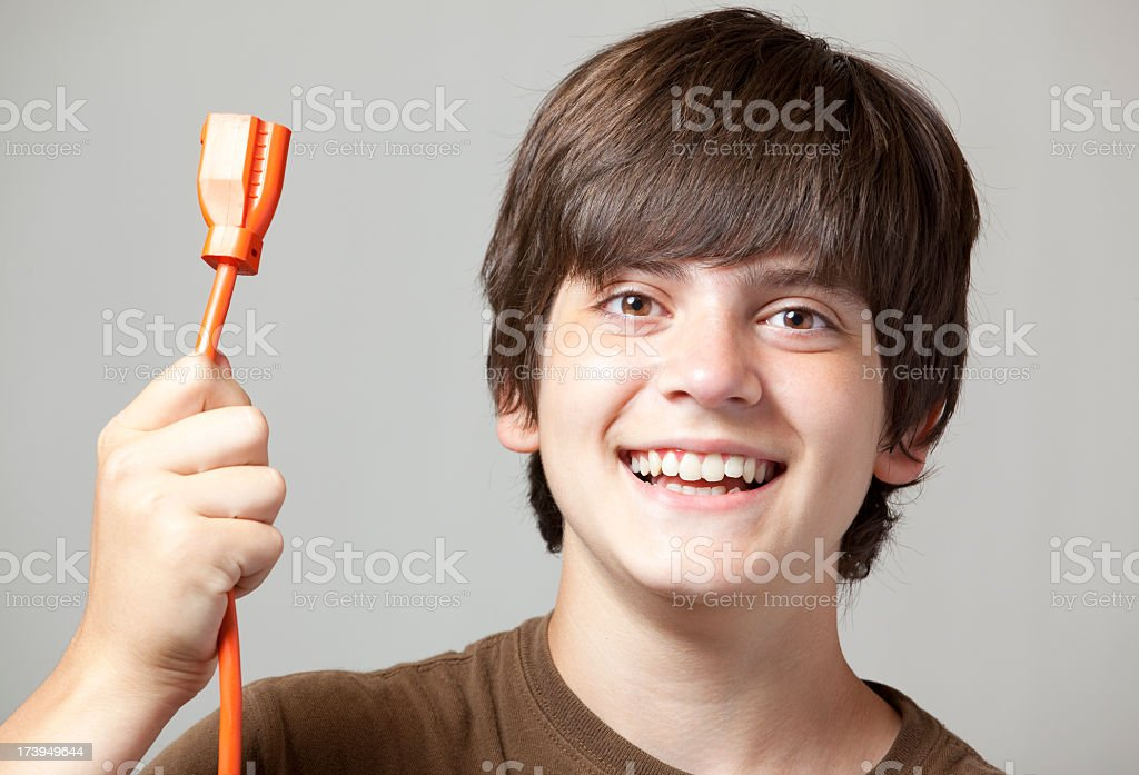 Boy Holding Cord royalty-free stock photo