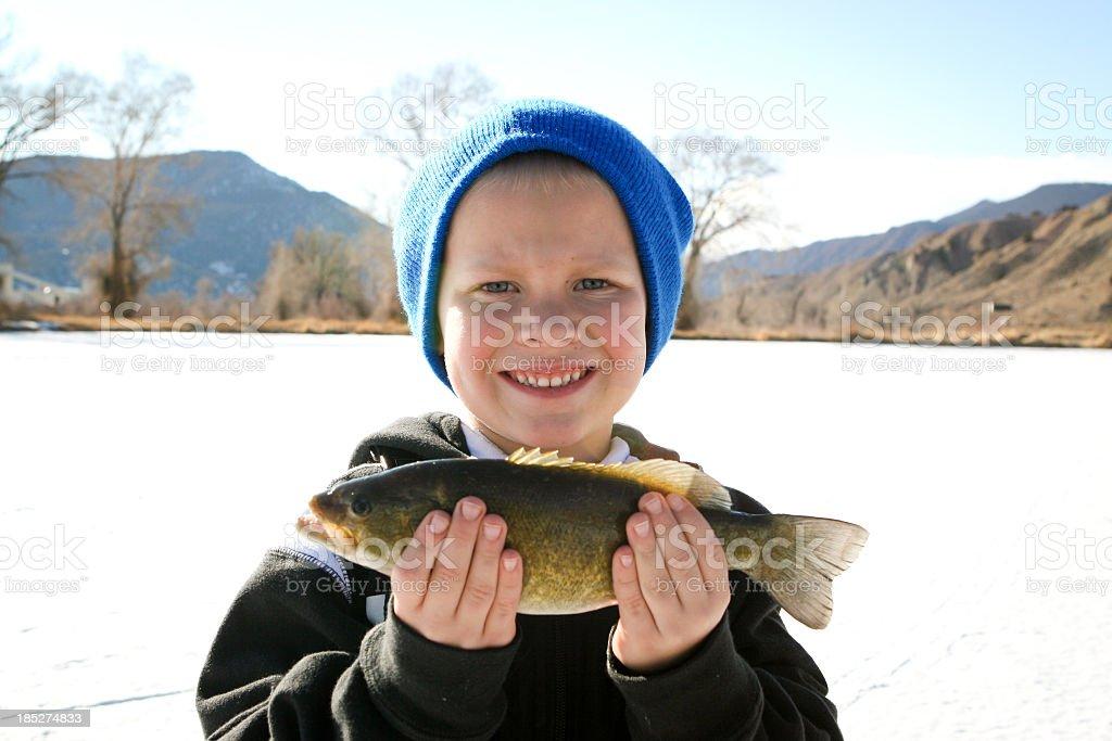 Boy Holding Fishing stock photo