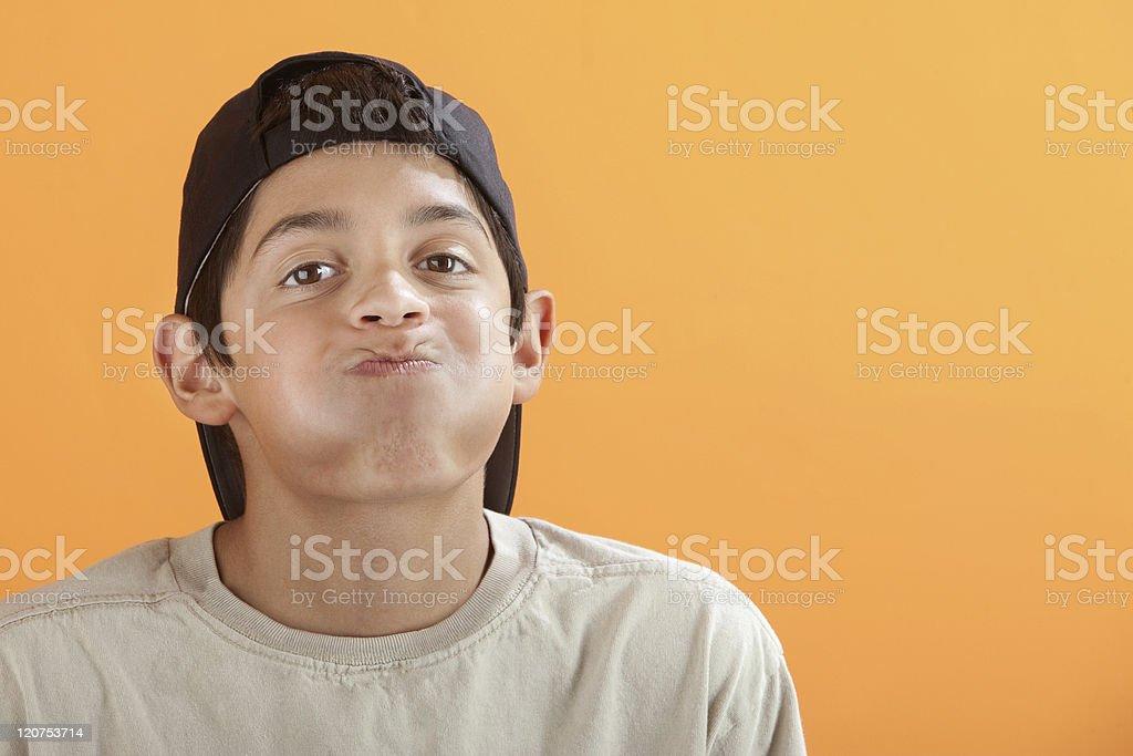 Boy Holding His Breath stock photo