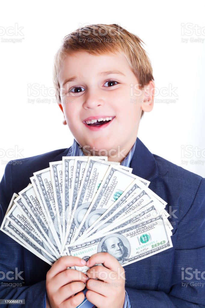 Boy holding money  American $100 bills stock photo