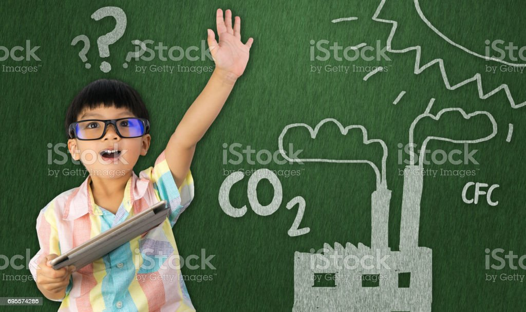 boy holding raise his hand for global warming stock photo