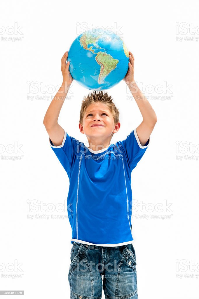 boy holding world in hands stock photo