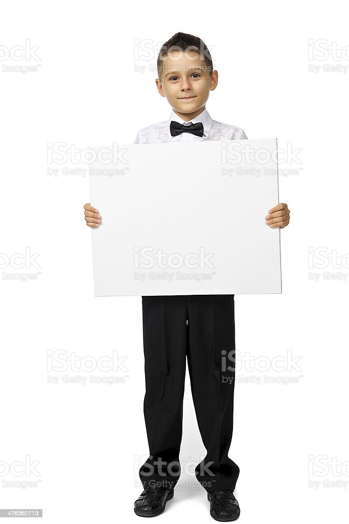 boy holds a banner royalty-free stock photo