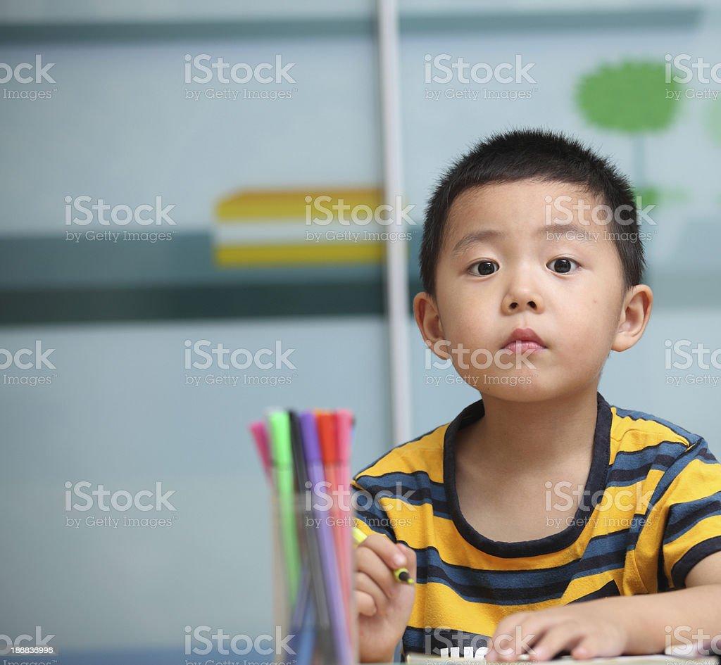 Boy homework royalty-free stock photo