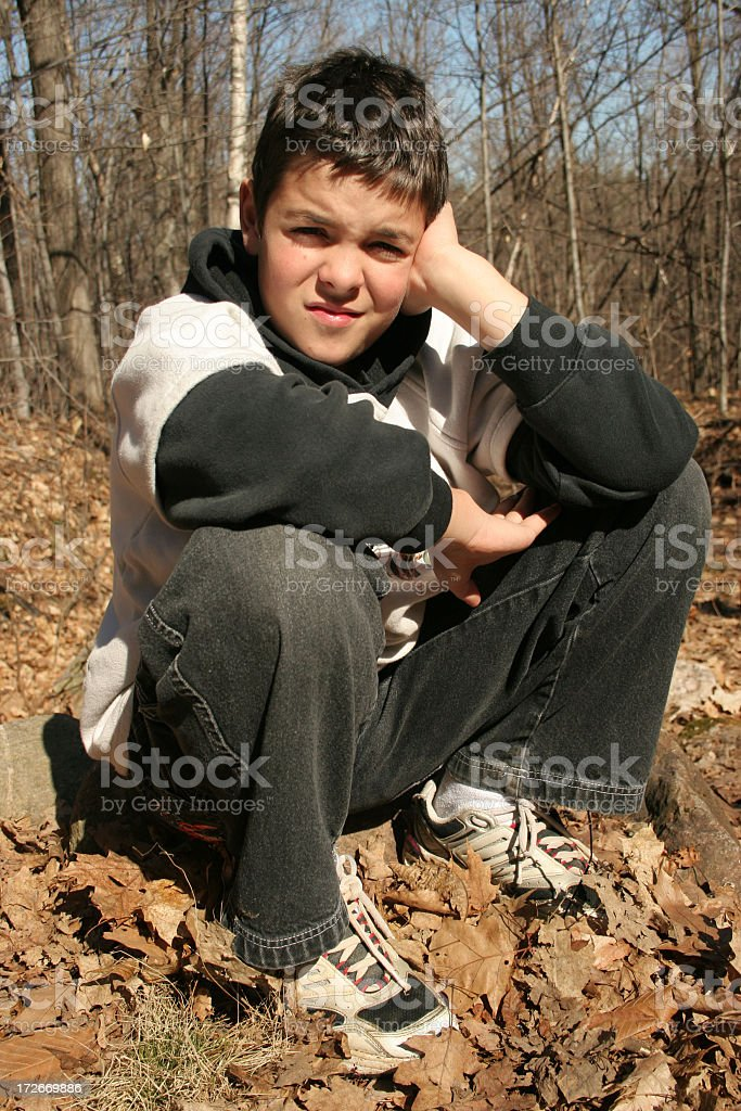 Boy in a park royalty-free stock photo
