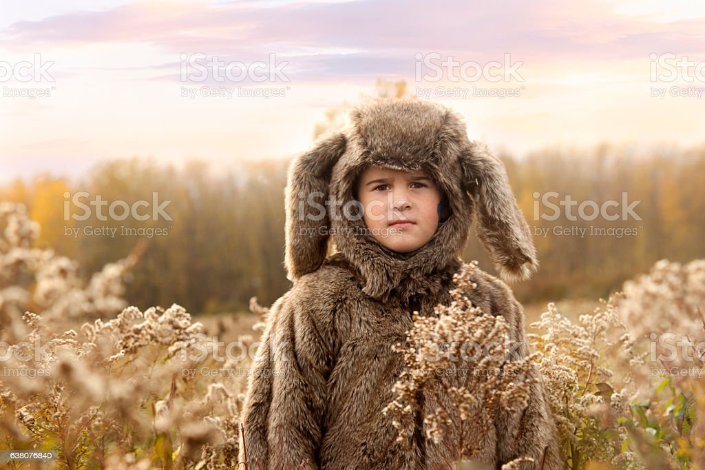 Boy in a wolf costume in a Prairie stock photo