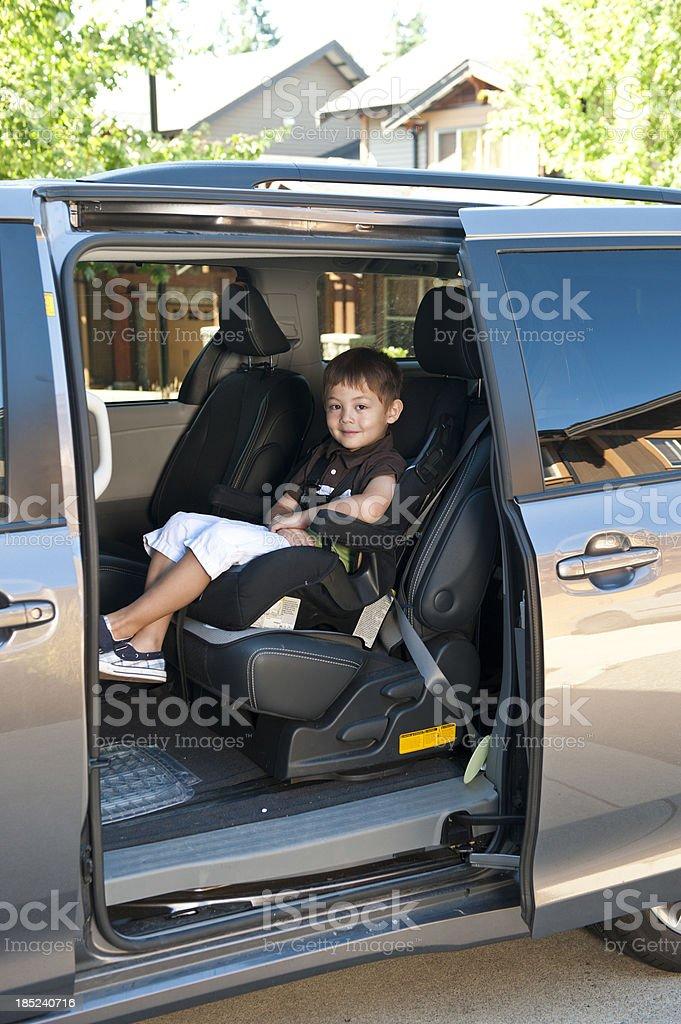 Boy in Car Seat stock photo