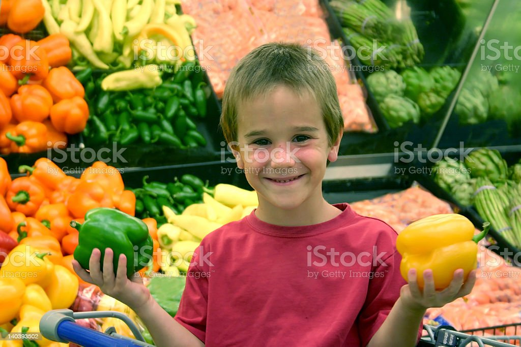 Boy in Grocery Store royalty-free stock photo
