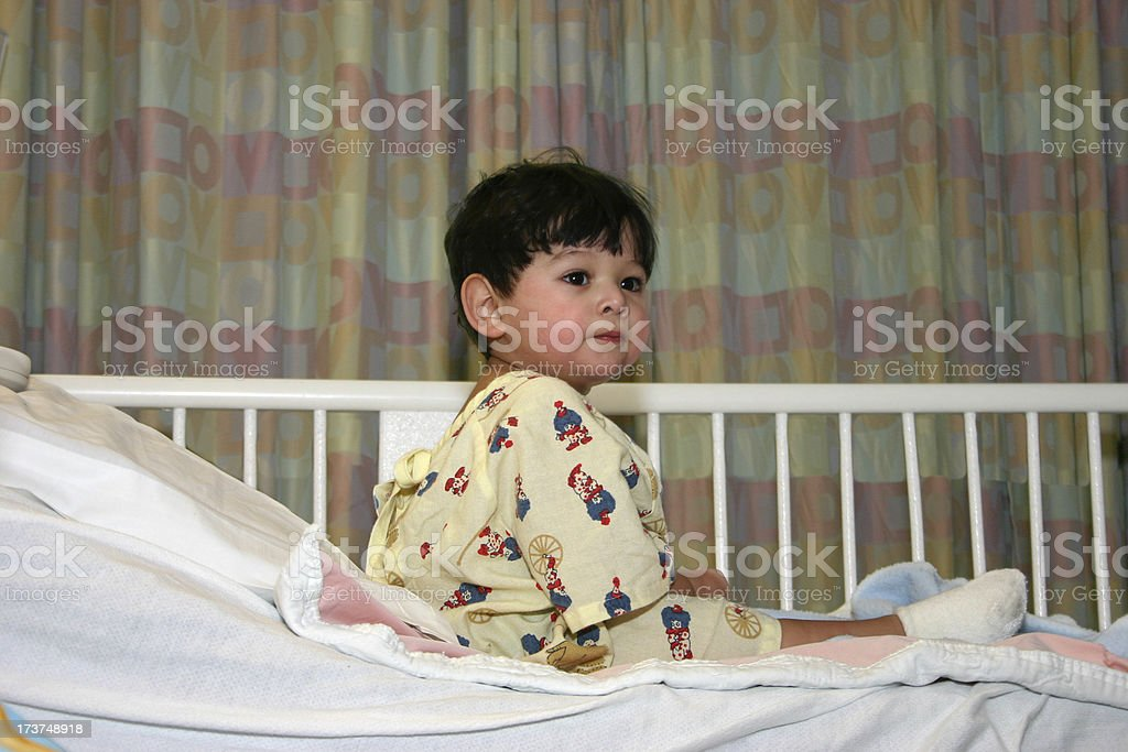 Boy in hospital stock photo
