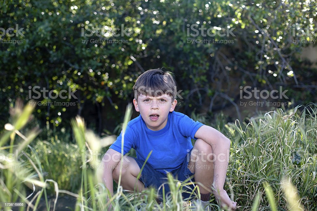 Boy in Nature stock photo