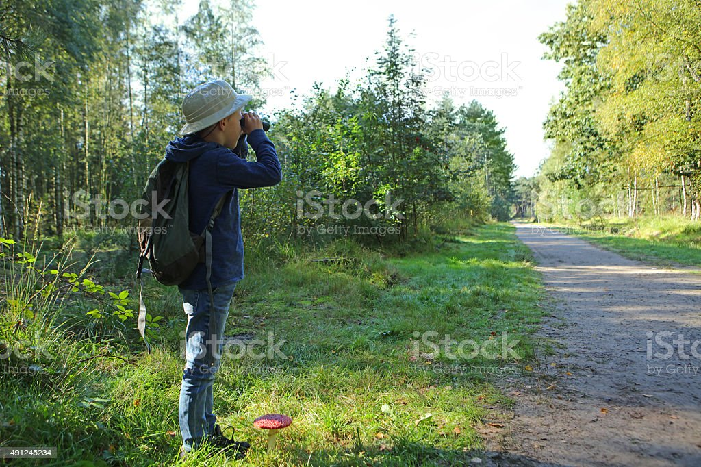 Boy in Pith Helmet and Backpack Using Binoculars in Forest stock photo