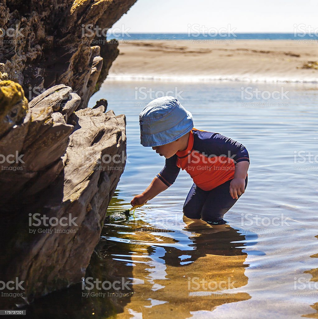 Boy in Rock Pool at Beach royalty-free stock photo