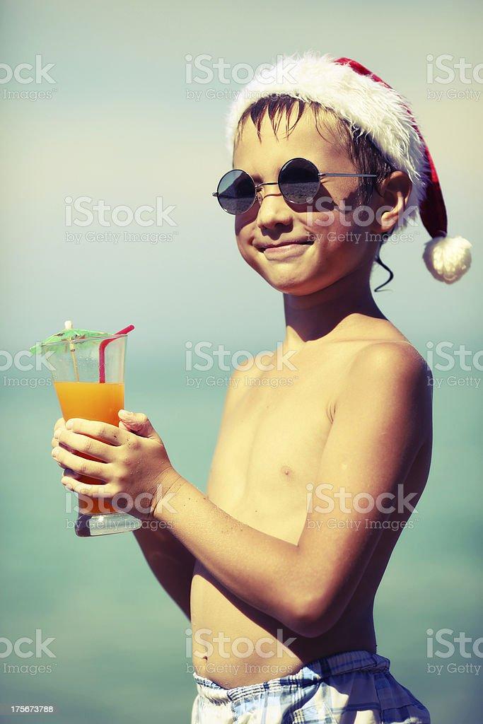 boy in Santa Claus hat royalty-free stock photo
