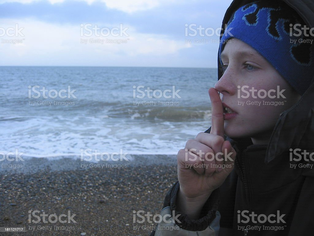 Boy In Shhhh... Position royalty-free stock photo