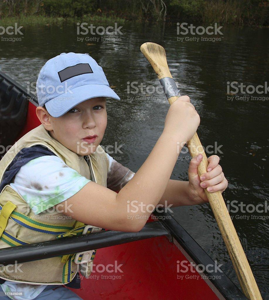 boy in the kayak royalty-free stock photo
