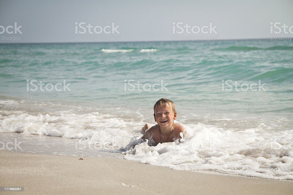 boy in the sea royalty-free stock photo