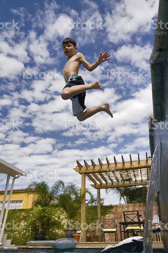 boy in the sky stock photo
