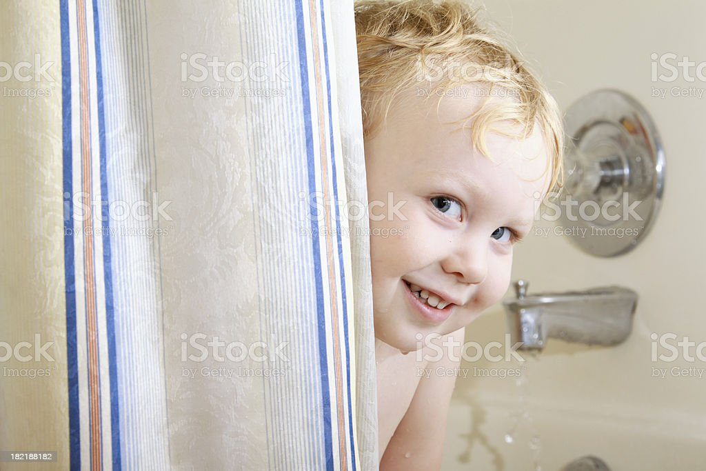 Boy in Tub Smiling royalty-free stock photo